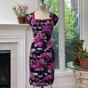 ADRIANNA PAPELL Floral Tiered Layered Dress